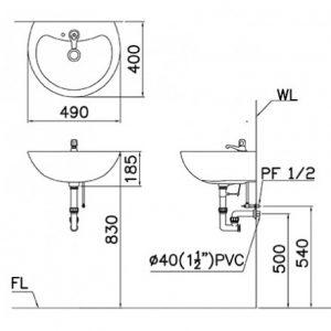 Bãn vẽ ký thuật chậu rửa mặt L2150